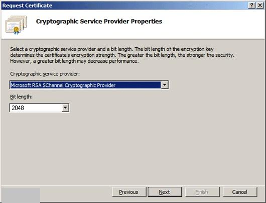 انتخاب نوع رمزگذاری برای ایجاد CSR