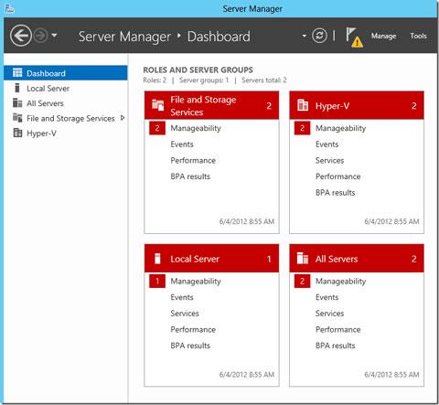 دشبورد Server Manager در ویندوز سرور 2012