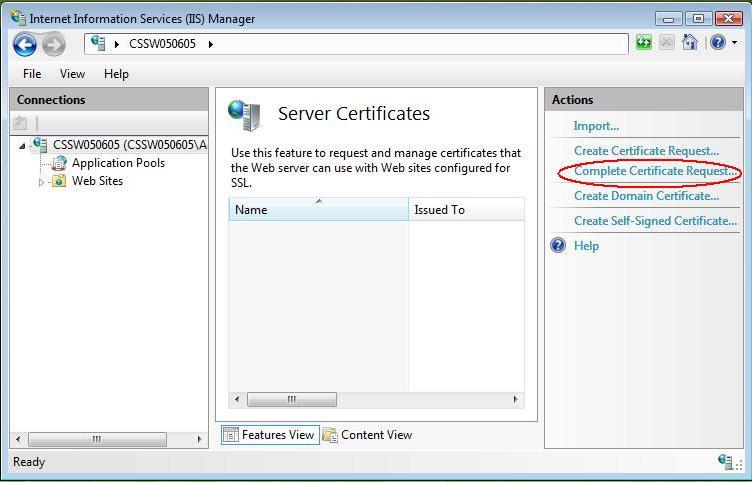 کلیک روی گزینهی «Complete Certificate Request»