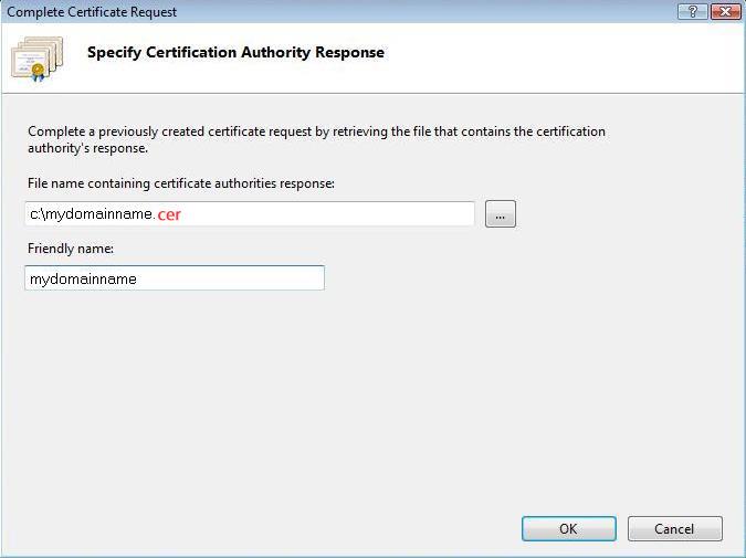 محل ذخیرهی فایل گواهینامهی SSL را تعیین کنید