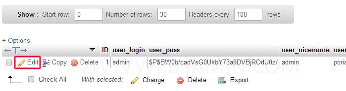 گزینه Edit برای تغییر رمز عبور