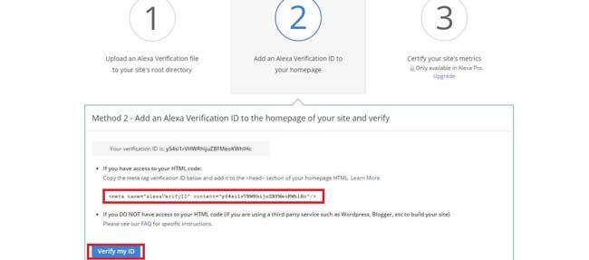 روش دوم: تأیید مالکیت سایت با افزودن متا تگ به فایل اصلی سایت