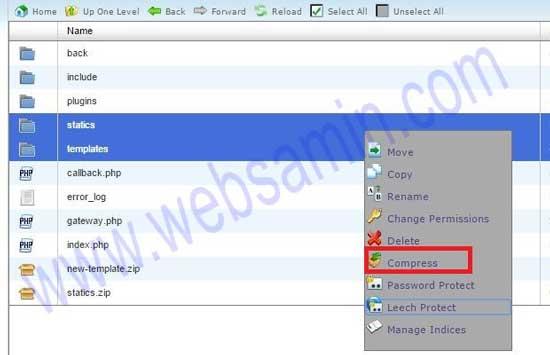 فایلهای قالب قبلی را به صورت zip شده روی هاستتان ذخیره کنید.
